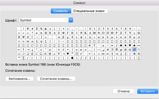 Служебные символы на клавиатуре